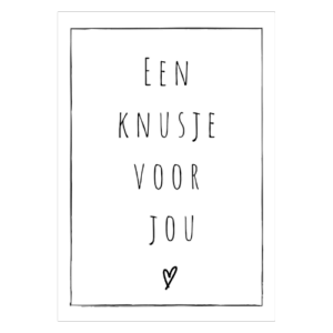 knusje kus knuffel wenskaart kaart kopen zwart wit woonkaart