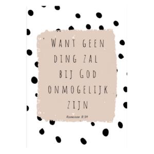 christelijke kaarten bijbel tekst online kopen christen webshop want geen ding zal bij God onmogelijk zijn