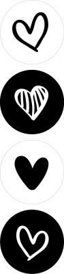 sluitsticker sluitstickers kadostickers zwart wit zwart-wit hart hartje hartjes stickers