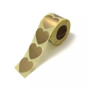 sluitstickers cadeausticker inpakken kadosticker hart gouden goud hart wensetiket