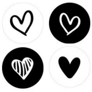 sluitstickers zwart wit kadosticker cadeaustickers inpakken hart hartje hartjes
