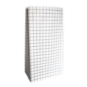 blokbodemzak zwart wit grid patroon blokzak papieren zakken kraft blokbodemzakken zwart wit online kopen