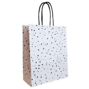 cadeautasje zwart wit papierentasje geschenktasje cadeautas geschenktas kadotasje papieren tasje stippen online kopen per stuk bestellen