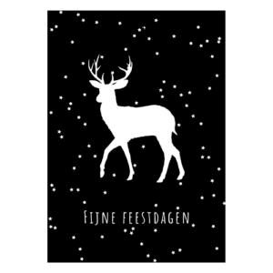 kerstkaart fijne feestdagen zwart wit sterren rendier kerstkaarten kerst kerstpost postkaart kopen bestellen webshop